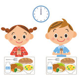 The child who eats lunch royalty free illustration