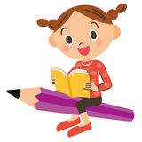 Child who gets on the pencil Stock Photos