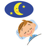 Child who goes to bed early. Healthy child who sleeps early vector illustration