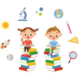 Child who reads various books Royalty Free Stock Image