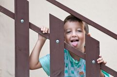 Child who winces through a railing Stock Photos