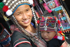 Child wih mother in Thailand stock photo
