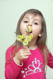 Child with willow catkins Royalty Free Stock Photography