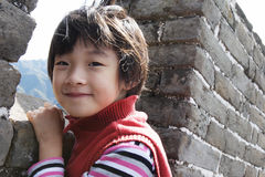 Child in wind on great wall Royalty Free Stock Photos