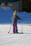 Child during the winter. Making child of the ski touring in winter Royalty Free Stock Images