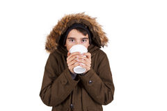 Child with winter clothes isolated on white Royalty Free Stock Image