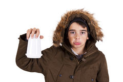 Child with winter clothes isolated on white Stock Images