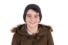 Child with winter clothes isolated on white Royalty Free Stock Photo