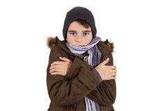 Child with winter clothes isolated on white Stock Photo