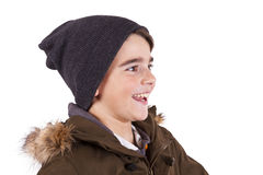 Child with winter clothes isolated on white Royalty Free Stock Photography