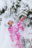 Child in winter clothes and warm hat with falling snow. Royalty Free Stock Photos