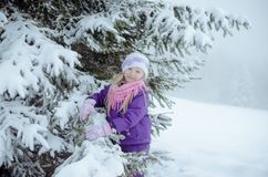 Child in winter forest royalty free stock photos
