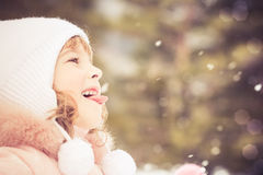 Child winter fun Stock Photo