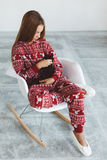 Child in winter pajamas Royalty Free Stock Photography