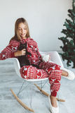 Child in winter pajamas Stock Photography