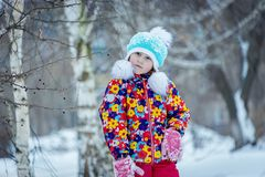 Child winter in the Park royalty free stock photo