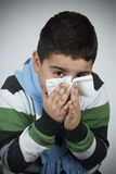Child Wiping His Nose. With Handkerchief Royalty Free Stock Photos
