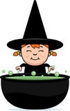 Child Witch Cauldron Royalty Free Stock Images