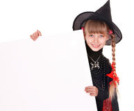 Child  witch holding banner and thumb up. Royalty Free Stock Photography