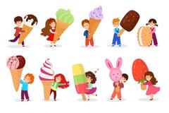 Free Child With Big Huge Ice Cream Vector Illustration. Cartoon Tiny Girl Boy Kid Character Holding Icecream Waffle Cone Royalty Free Stock Image - 178502046