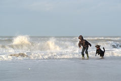 Child With Dog In The Sea Stock Image