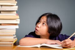 Child With Many Books To Read Royalty Free Stock Images