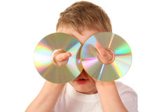 Child With Two Cd Royalty Free Stock Photo