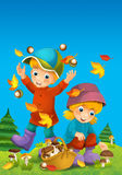 The child in the wood - mushrooming - or autumn Stock Image