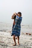 Child workers. SONAKHALI, INDIA - JANUARY 17: child workers carry bricks carrying it on his head in Sonakhali, West Bengal, India on January 17, 2009 stock photography