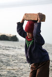 Child workers. Carry bricks carrying it on his head in Sonakhali, West Bengal, India on January 17, 2009 stock photo
