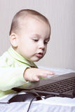 Child working at a computer Royalty Free Stock Images