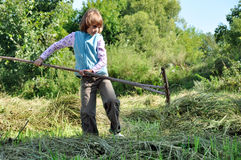 Child working with a rake Royalty Free Stock Photo