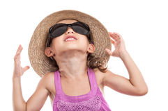 Child protect sun ultraviolet radiation Royalty Free Stock Photos