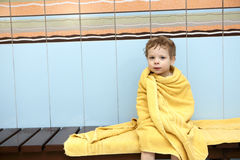 Child wrapped in a towel Royalty Free Stock Image