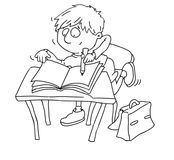 A child writes in his notebook chine coloring for kids Stock Photography