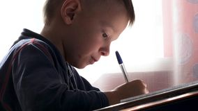 Child writes with a pen in a notebook. 2019 stock video footage