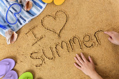 Summer beach vacation love message Stock Image