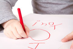 Child writting I love you close-up Stock Photography