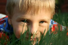 Child& x27 πρόσωπο του s σε μια χλόη Στοκ Εικόνες