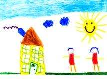 Child' 一个房子的s图画在一个晴天 免版税库存照片