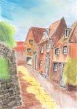 Child& x27; casa del dibujo de s en el pueblo Foto de archivo libre de regalías