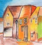Child& x27; casa del dibujo de s en el pueblo Imágenes de archivo libres de regalías