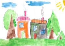 Child& x27; dibujo de s Casa de campo y árboles Fotografía de archivo libre de regalías