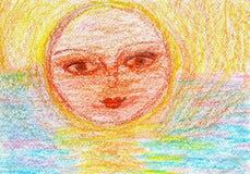 Child& x27; dibujo de s del sol en la puesta del sol Fotografía de archivo libre de regalías