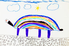 Child's colorful drawing Stock Photo