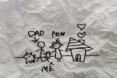 Child's drawing happy family Stock Image