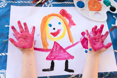 Child& x27; s-Fingermalerei Lizenzfreies Stockfoto