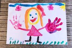Child& x27; s-Fingermalerei Lizenzfreies Stockbild
