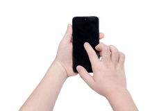 Child's hands holding smart phone over white Stock Images