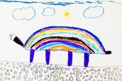 Child' s kleurrijke tekening Stock Foto